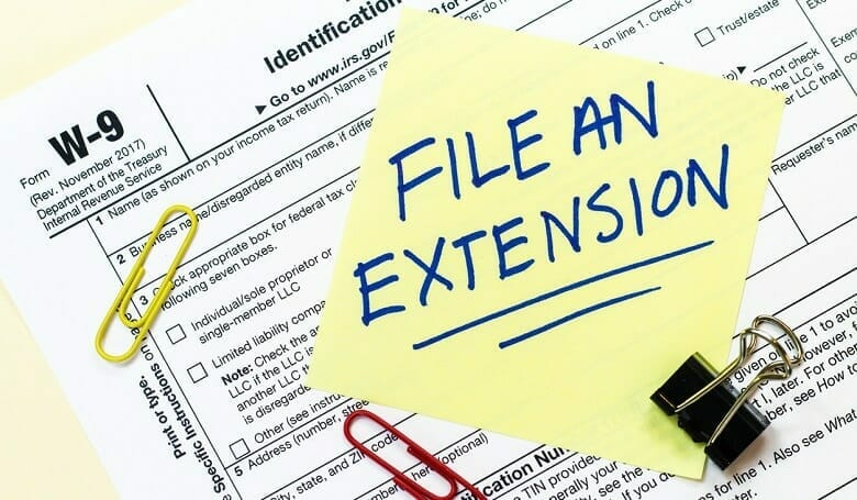 File an extension sticky note