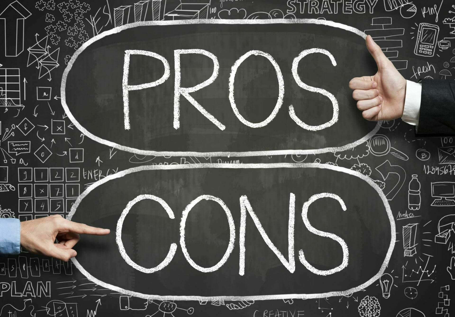 Pros and cons on a whiteboard