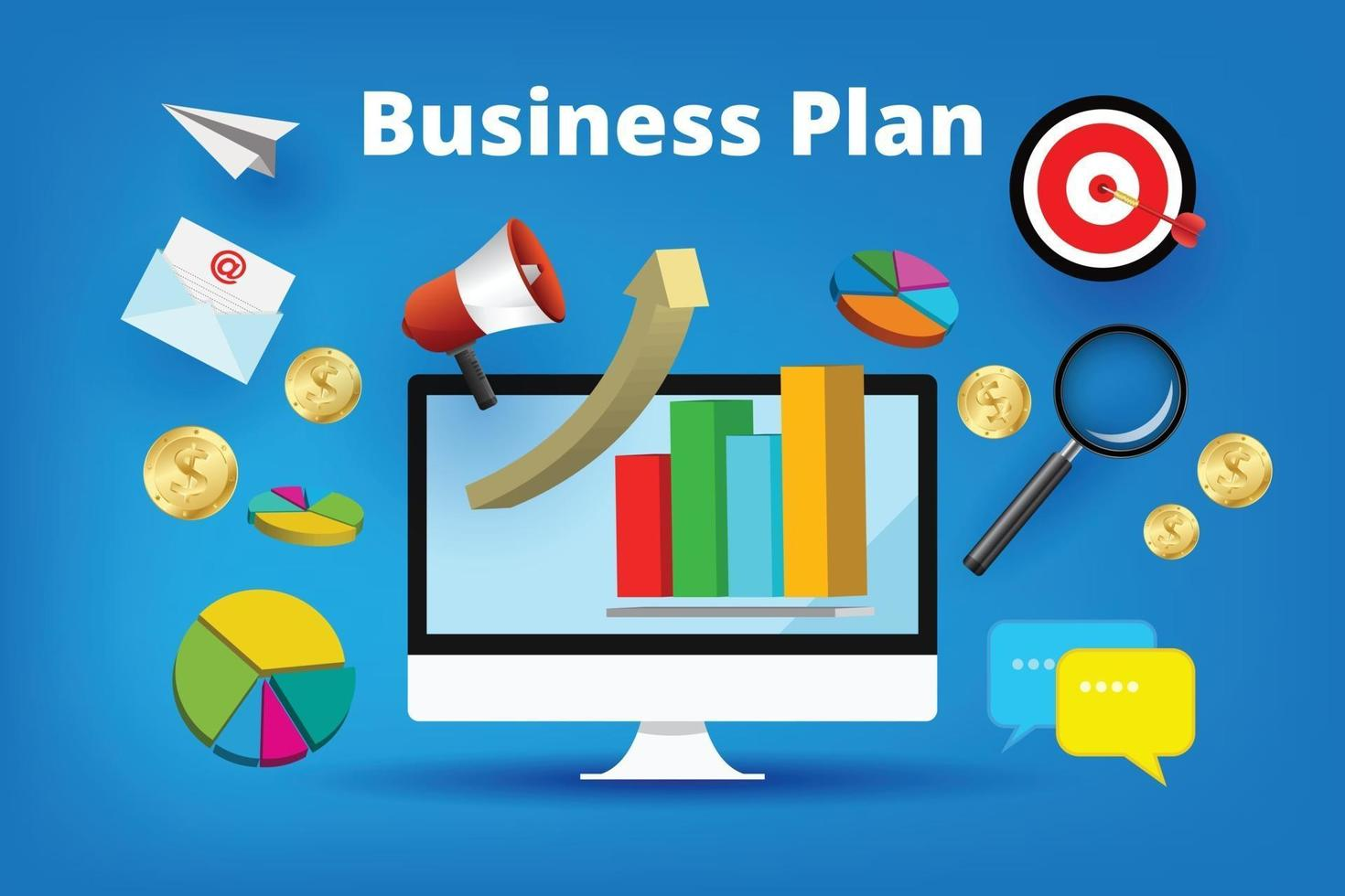 A cartooned monitor with a business plan